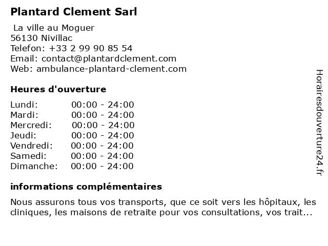 Plantard Clement Sarl à Nivillac: adresse et heures d'ouverture