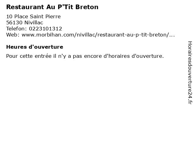 Restaurant Au P'Tit Breton à Nivillac: adresse et heures d'ouverture
