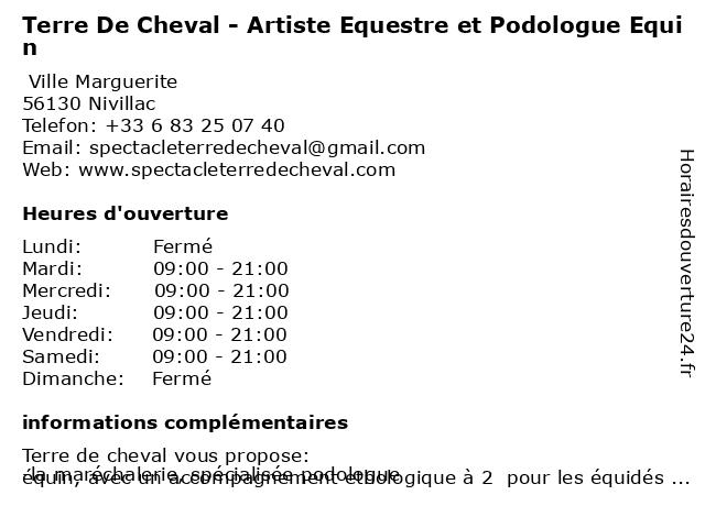 Terre De Cheval - Artiste Equestre et Podologue Equin à Nivillac: adresse et heures d'ouverture