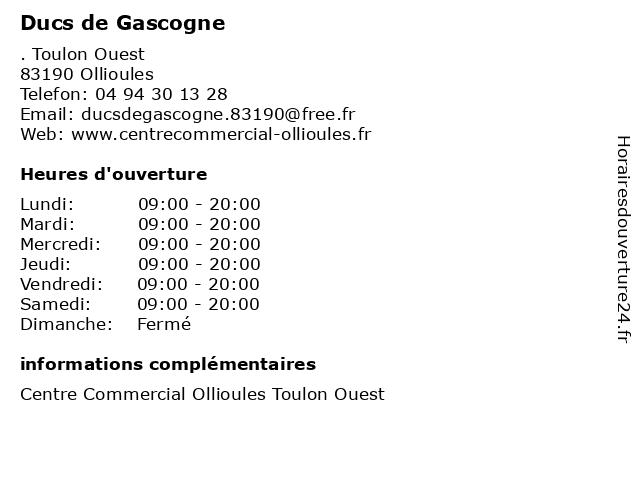 Ducs de Gascogne à Ollioules: adresse et heures d'ouverture