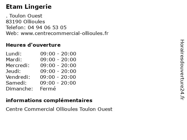 Etam Lingerie à Ollioules: adresse et heures d'ouverture