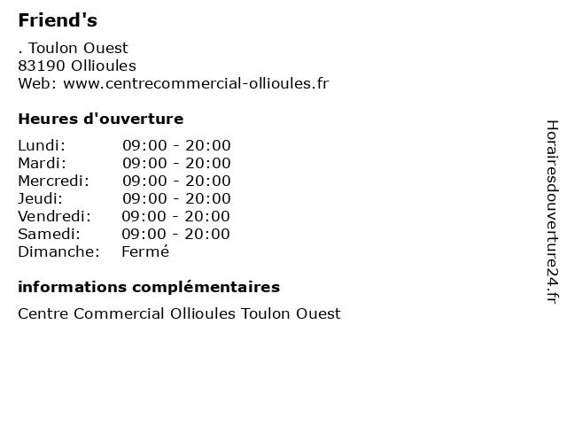 Friend's à Ollioules: adresse et heures d'ouverture