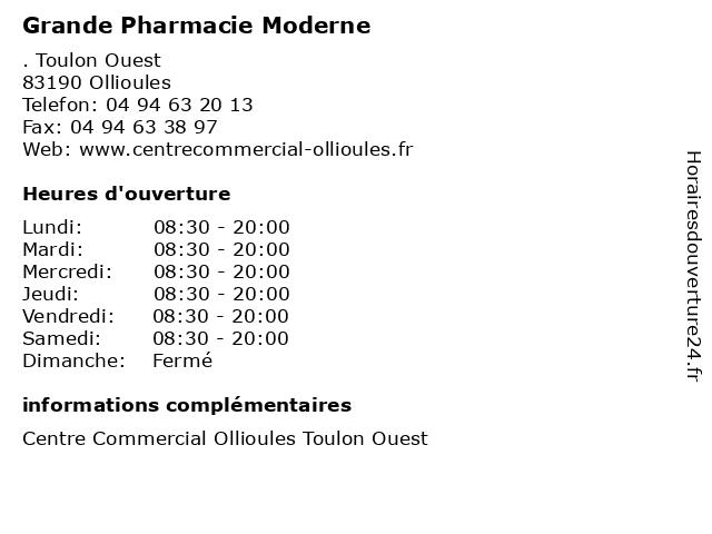 Grande Pharmacie Moderne à Ollioules: adresse et heures d'ouverture