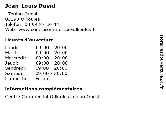 Jean-Louis David à Ollioules: adresse et heures d'ouverture