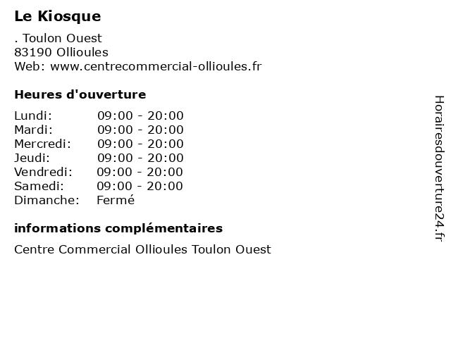Le Kiosque à Ollioules: adresse et heures d'ouverture