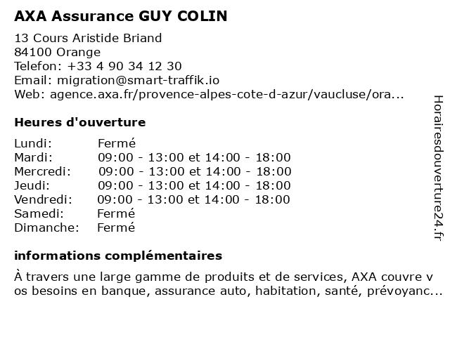 AXA Assurance GUY COLIN à Orange: adresse et heures d'ouverture