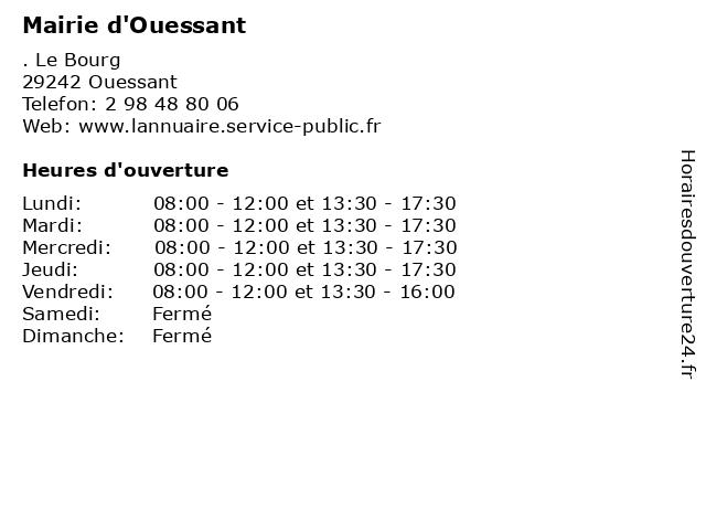 Mairie d'Ouessant à Ouessant: adresse et heures d'ouverture