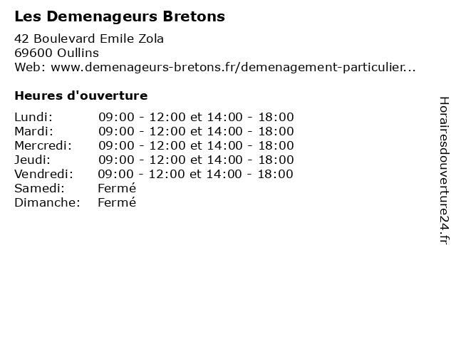 Les Demenageurs Bretons à Oullins: adresse et heures d'ouverture