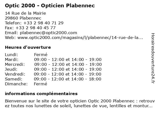 Opticien Optic 2000 Plabennec - Lunettes, lunettes de soleil, lentilles à PLABENNEC: adresse et heures d'ouverture