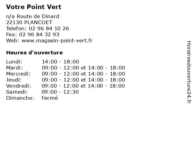 Votre Point Vert à PLANCOET: adresse et heures d'ouverture
