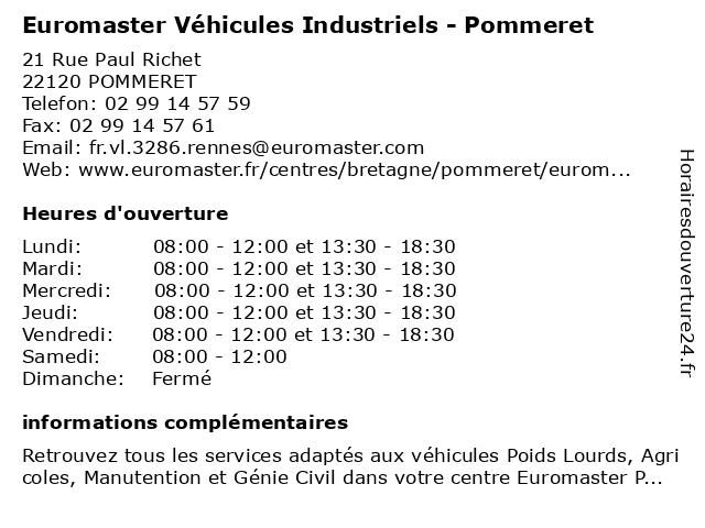 Euromaster à POMMERET: adresse et heures d'ouverture