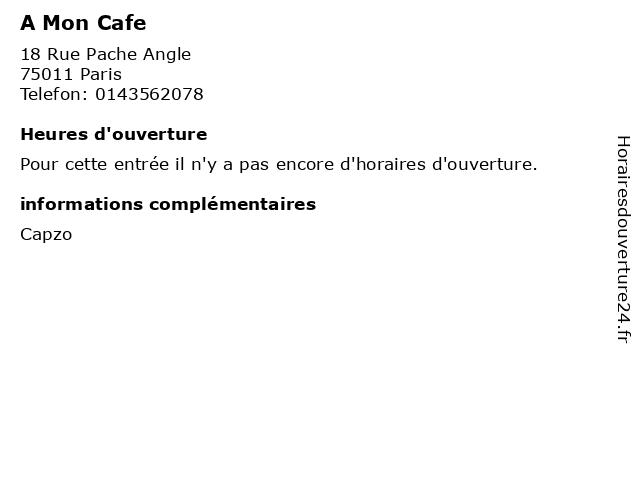 A Mon Cafe à Paris: adresse et heures d'ouverture
