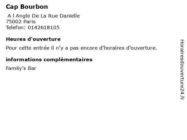 Cap Bourbon à Paris: adresse et heures d'ouverture