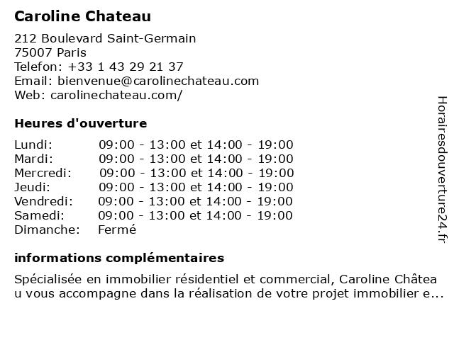 Caroline Chateau à Paris: adresse et heures d'ouverture