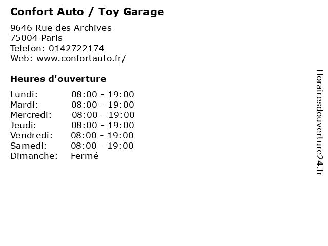 Confort Auto / Toy Garage à Paris: adresse et heures d'ouverture