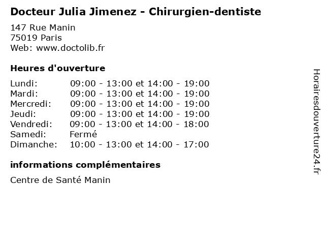 Docteur Julia Jimenez - Chirurgien-dentiste à Paris: adresse et heures d'ouverture