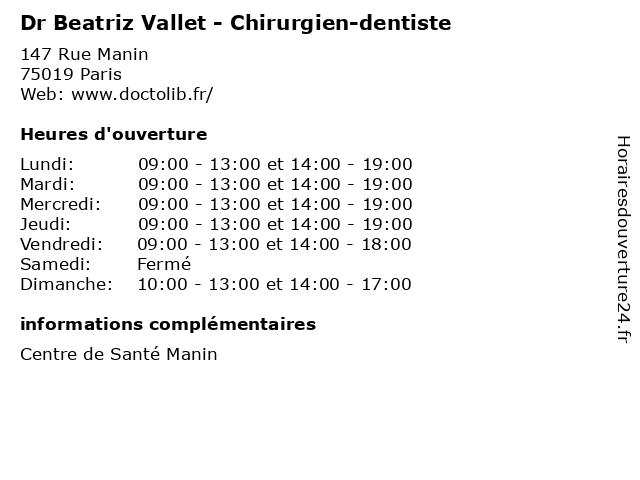 Dr Beatriz Vallet - Chirurgien-dentiste à Paris: adresse et heures d'ouverture