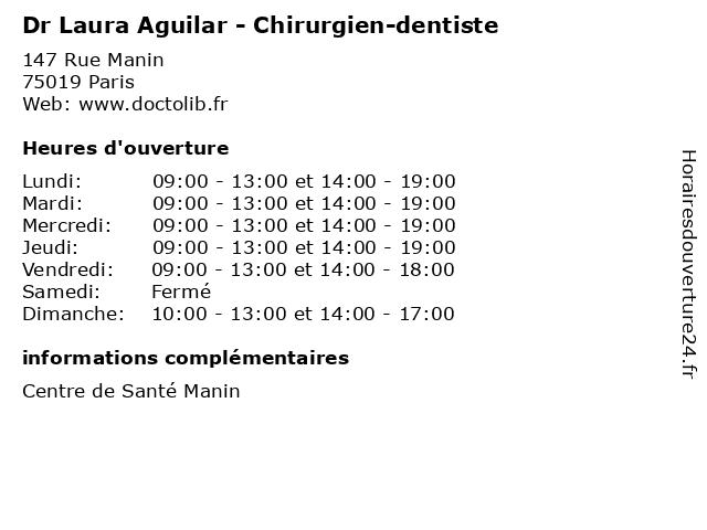 Dr Laura Aguilar - Chirurgien-dentiste à Paris: adresse et heures d'ouverture