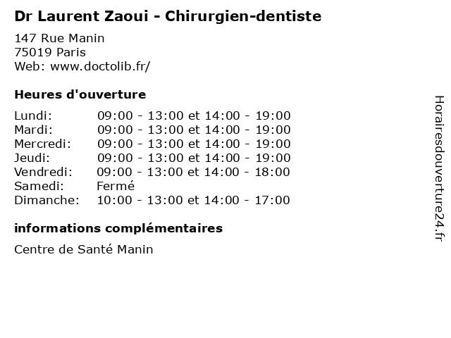 Dr Laurent Zaoui - Chirurgien-dentiste à Paris: adresse et heures d'ouverture
