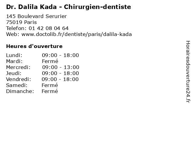 Dr. Dalila Kada - Dentiste à Paris: adresse et heures d'ouverture