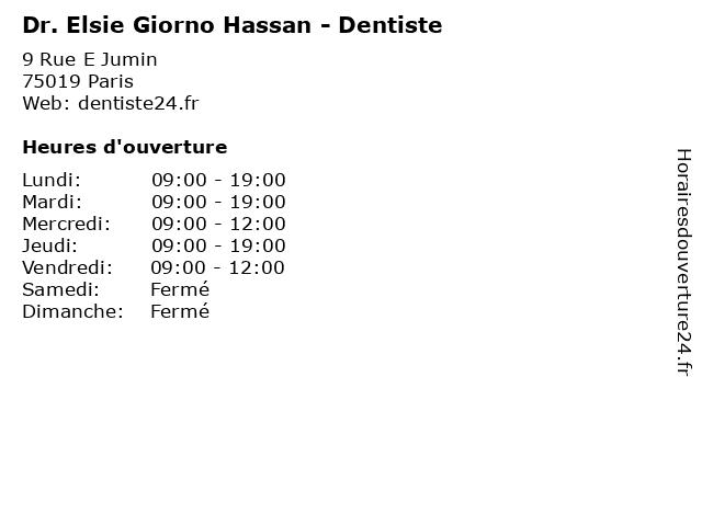 Dr. Elsie Giorno Hassan - Dentiste à Paris: adresse et heures d'ouverture