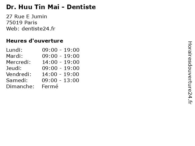Dr. Huu Tin Mai - Dentiste à Paris: adresse et heures d'ouverture