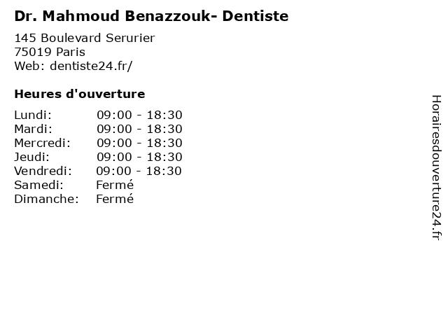 Dr. Mahmoud Benazzouk- Dentiste à Paris: adresse et heures d'ouverture