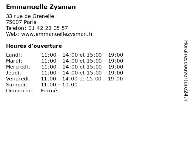 Emmanuelle Zysman à Paris: adresse et heures d'ouverture
