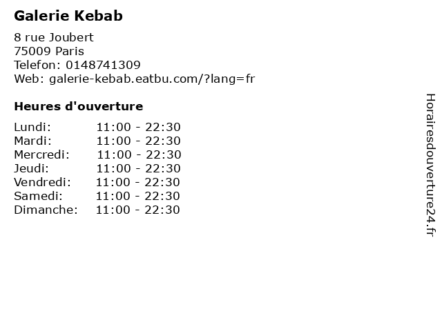 Galerie Kebab à Paris: adresse et heures d'ouverture