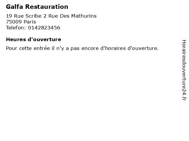 Galfa Restauration à Paris: adresse et heures d'ouverture