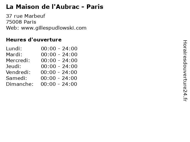 La Maison de l'Aubrac - Paris à Paris: adresse et heures d'ouverture