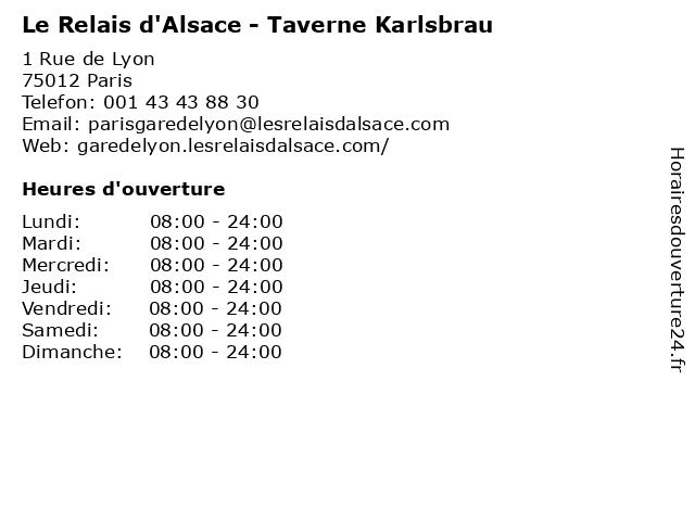 Le Relais d'Alsace - Taverne Karlsbrau à Paris: adresse et heures d'ouverture