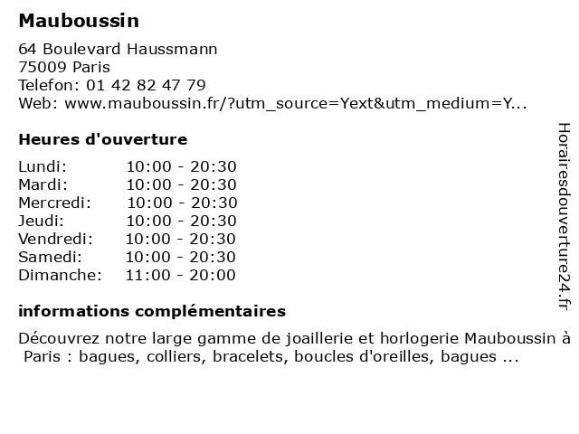 Mauboussin à Paris: adresse et heures d'ouverture