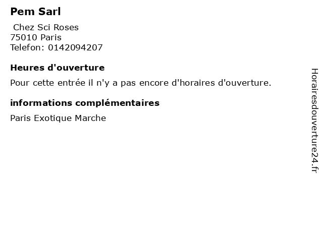 Pem Sarl à Paris: adresse et heures d'ouverture