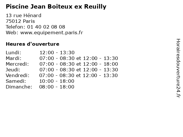 ᐅ Piscine Jean Boiteux Ex Reuilly Horaires D Ouverture 13 Rue