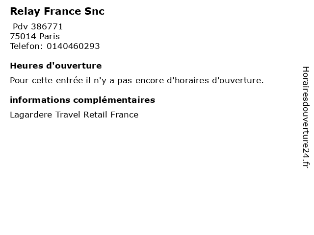 Relay France Snc à Paris: adresse et heures d'ouverture