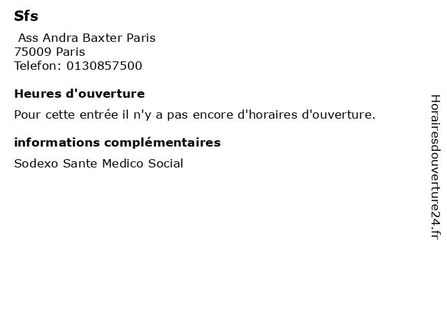 Sfs à Paris: adresse et heures d'ouverture