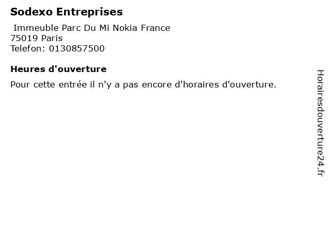 Sodexo Entreprises à Paris: adresse et heures d'ouverture