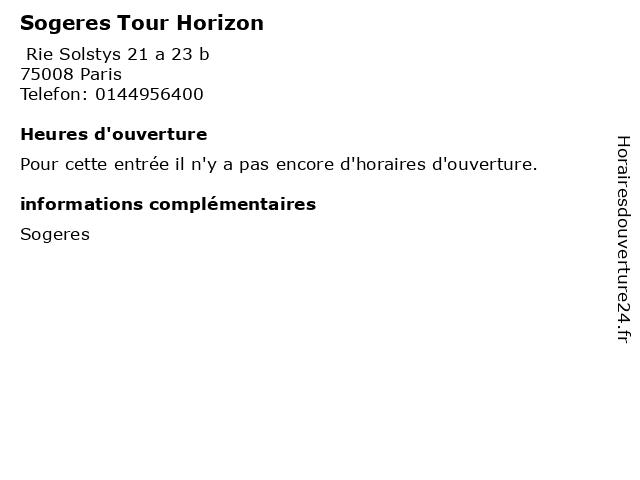 Sogeres Tour Horizon à Paris: adresse et heures d'ouverture