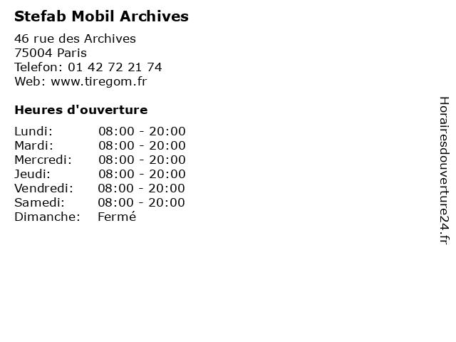 Stefab Mobil Archives à Paris: adresse et heures d'ouverture