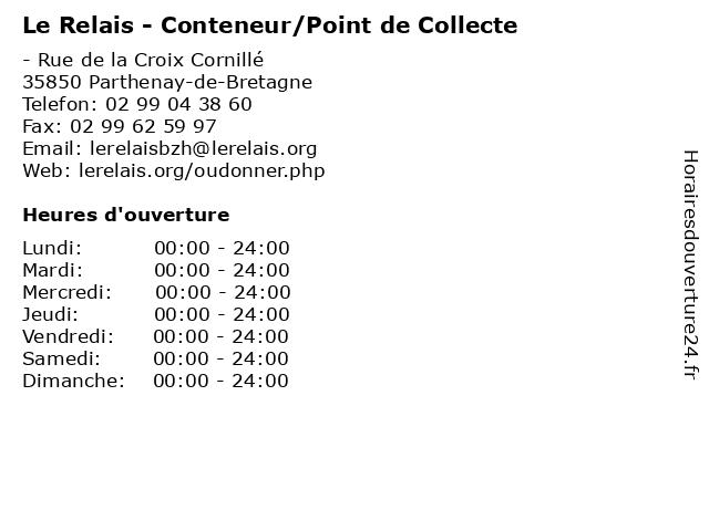 Le Relais - Conteneur/Point de Collecte à Parthenay-de-Bretagne: adresse et heures d'ouverture