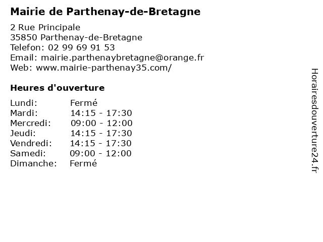 Mairie de Parthenay-de-Bretagne à Parthenay-de-Bretagne: adresse et heures d'ouverture