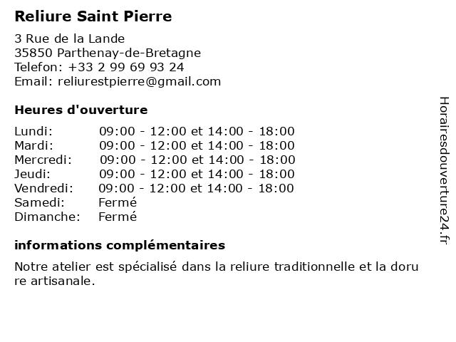 Reliure Saint Pierre à Parthenay-de-Bretagne: adresse et heures d'ouverture