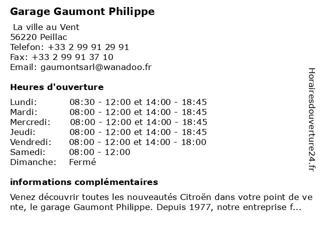 Garage Gaumont Philippe à Peillac: adresse et heures d'ouverture