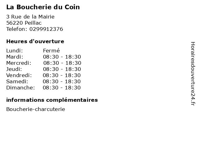 La Boucherie du Coin à Peillac: adresse et heures d'ouverture