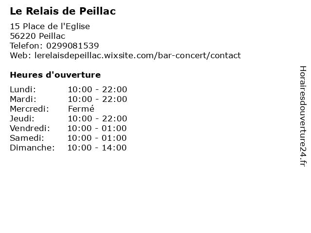 Le Relais de Peillac à Peillac: adresse et heures d'ouverture
