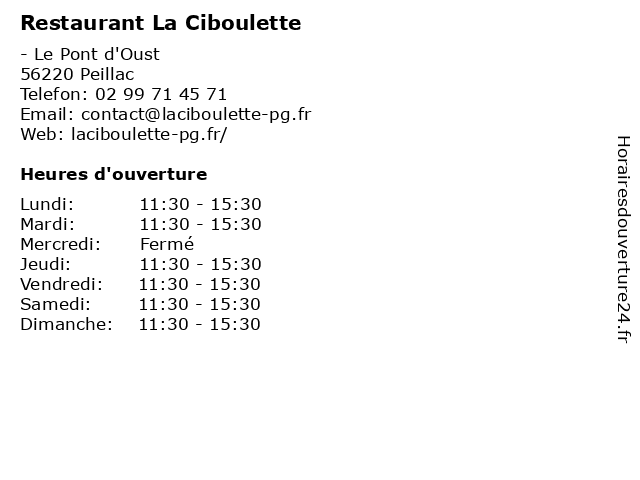 Restaurant La Ciboulette à Peillac: adresse et heures d'ouverture