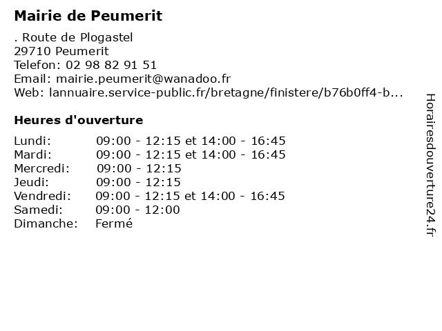Mairie de Peumerit à Peumerit: adresse et heures d'ouverture