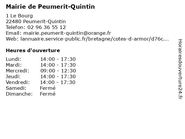 Mairie de Peumerit-Quintin à Peumerit: adresse et heures d'ouverture