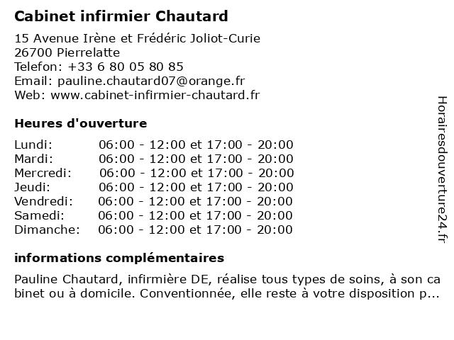 Cabinet infirmier Chautard à Pierrelatte: adresse et heures d'ouverture